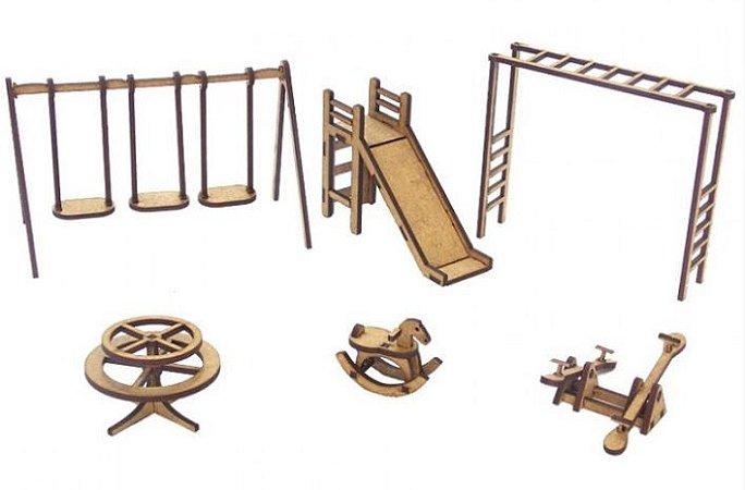 Kit 6 Miniaturas Parquinho Balança Gangorra Escorregador Mdf