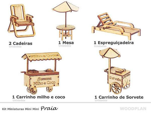 Kit Miniatura Praia 6 Peças Espreguiçadeira Carrinho Mdf