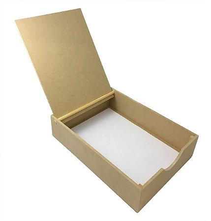 Caixa Documentos Tampa Articulada Mdf A4 Mdf Cru Lisa