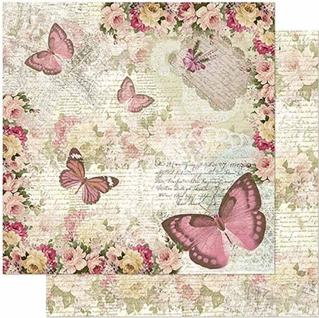 Papel Para Scrapbook Dupla Face 30,5 cm x 30,5 cm – Borboletas E Flores Vintage SD-964