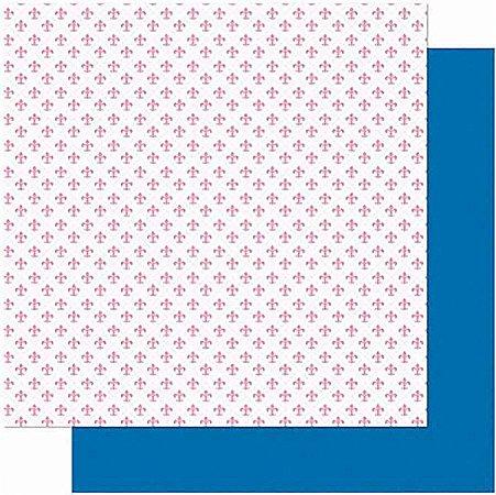 Papel Para Scrapbook Dupla Face 30,5 cm x 30,5 cm – Amor JE T´AIME Estampa Flor Lis-Verso Poá SD-1006