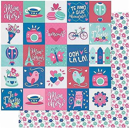 Papel Para Scrapbook Dupla Face 30,5 cm x 30,5 cm – AMOR JE T´Aime Tags-Verso Estampa Flores SD-997