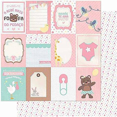 Papel Para Scrapbook Dupla Face 30,5 cm x 30,5 cm – Tags Bebê Feminino Verso Poá SD-988