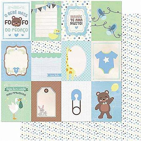 Papel Para Scrapbook Dupla Face 30,5 cm x 30,5 cm -Tags Bebê Masculino Verso Poá SD-985