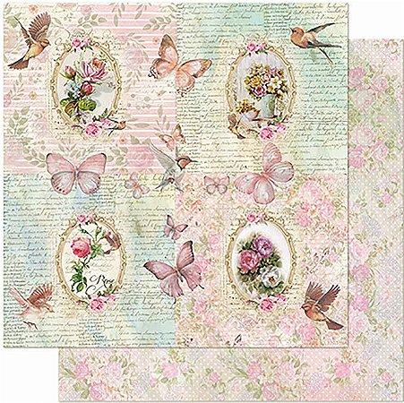 Papel Para Scrapbook Dupla Face 30,5 cm x 30,5 cm - Flores,Molduras, Pássaros SD-955