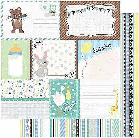 Papel Para Scrapbook Dupla Face 30,5 cm x 30,5 cm – Tags Bebê Masculino Verso Listras SD-986