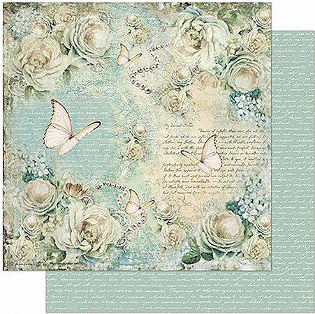 Papel Para Scrapbook Dupla Face 30,5 cm x 30,5 cm -Rosas e Borboleta,Vintage SD-954