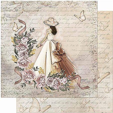 Papel Para Scrapbook Dupla Face 30,5 cm x 30,5 cm - Dama ,Rosas e Borboletas SD-950