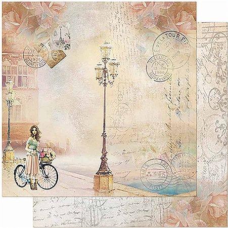 Papel Para Scrapbook Dupla Face 30,5 Cm X 30,5 Cm - Jovem, Bicicleta E Poste SD-946
