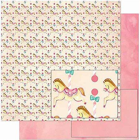 Papel Para Scrapbook Dupla Face 30,5 Cm X 30,5 Cm- Estampa, Cavalinhos Infantis SD-922