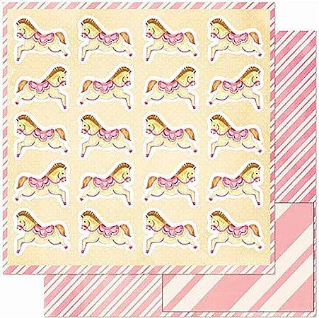 Papel Para Scrapbook Dupla Face 30,5 Cm X 30,5 Cm- Cavalinhos Infantis SD-921