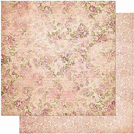 Papel Para Scrapbook Dupla Face 30,5 cm x 30,5 cm – Padrão Rosas Vintage SD-978