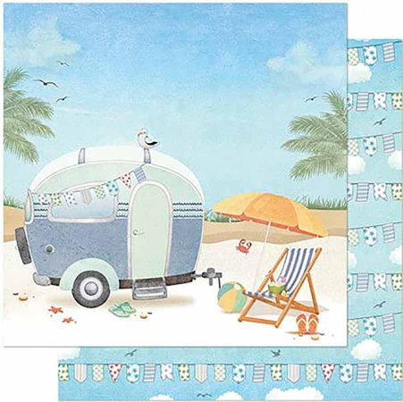 Papel Para Scrapbook Dupla Face 30,5 Cm X 30,5 Cm- Praia Trailer SD-880