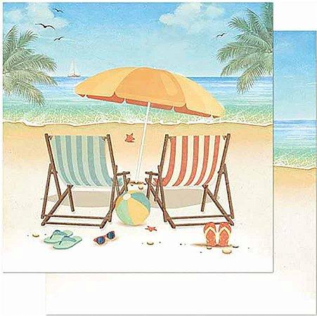 Papel Para Scrapbook Dupla Face 30,5 Cm X 30,5 Cm- Praia Cadeiras E Guarda-Sol SD-876
