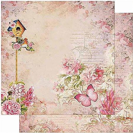 Papel Para Scrapbook Dupla Face 30,5 Cm X 30,5 Cm- Casa De Passarinho E Flores SD-863