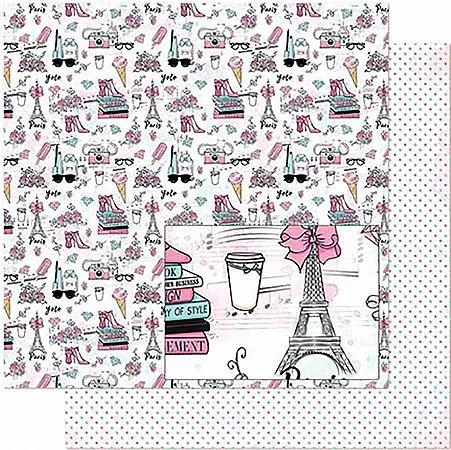 Papel Para Scrapbook Dupla Face 30,5 Cm X 30,5 Cm- Feminino, Flores, Sapatos, Livro SD-852