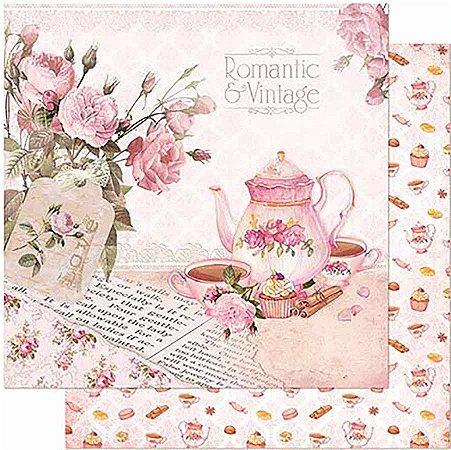 Papel Para Scrapbook Dupla Face 30,5 Cm X 30,5 Cm- Chá, Bule E Xícaras Rosas SD-859