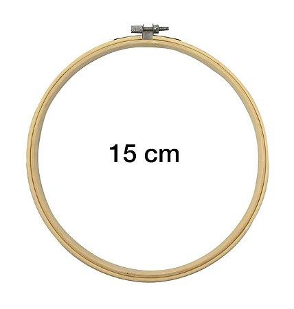 Bastidor Madeira Bambu Com Anel Ajustável Bordado - 15 Cm