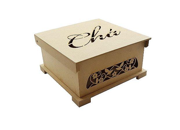Caixa Chá 4 Divisórias Laser Mdf Cru Organizador Chá Cozinha