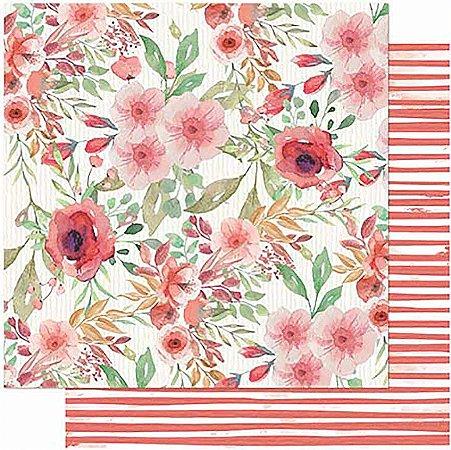 Papel Para Scrapbook Dupla Face 30,5 cm x 30,5 cm – Amor Love Story Flores-Verso Listras SD-1013