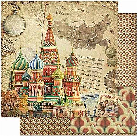 Papel Para Scrapbook Dupla Face 30,5 Cm X 30,5 Cm- Moscou – Rússia Vintage SD-793