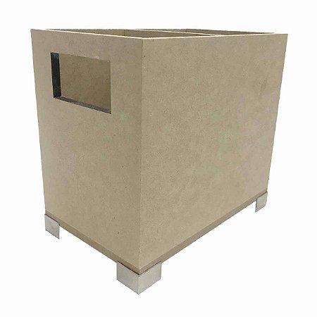 Porta Talher Retangular Cesto Com Pezinho Metal 2 Divisórias
