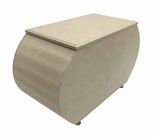 Caixa MDF Oval Ovalada G Pezinho Metal Tampa Solta 29x12x17