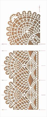 Stencil de Acetato para Pintura OPA Simples 17 x 42 cm - 2626 Renda Com Cantoneira I