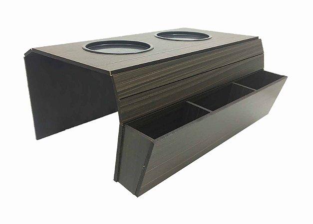 Esteira Porta Copos Braço Sofá MDF Marrom Tabaco Controle
