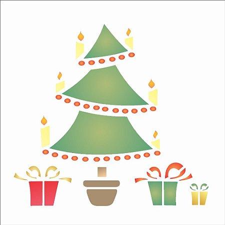 Stencil de Acetato para Pintura OPA 14×14 Simples – Árvore e Presentes – OPA 1108
