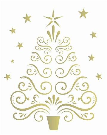 Stencil de Acetato para Pintura OPA 20×25 Simples – Árvore Arabescos – OPA 2116