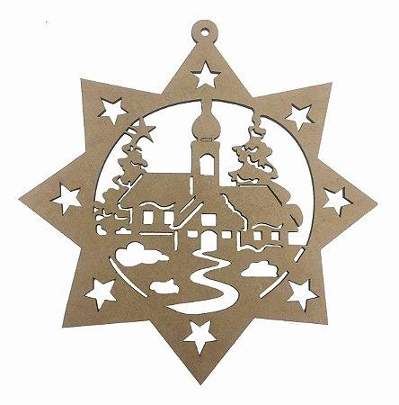Guirlanda MDF Estrela Capela Natal Decoração