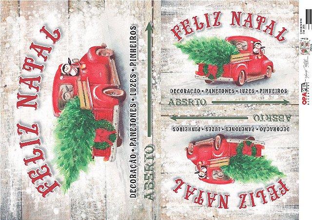 Papel para Decoupage de Natal OPAPEL 30X45 Camionete Natal – 2535