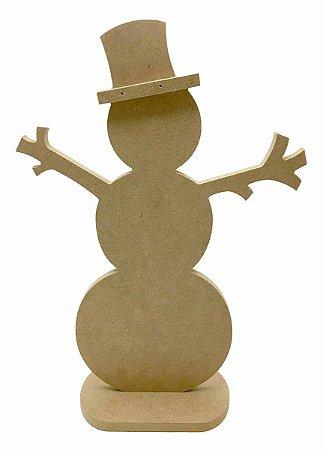 Boneco de Neve MDF Com Base P - 30 cm Decoração Natal