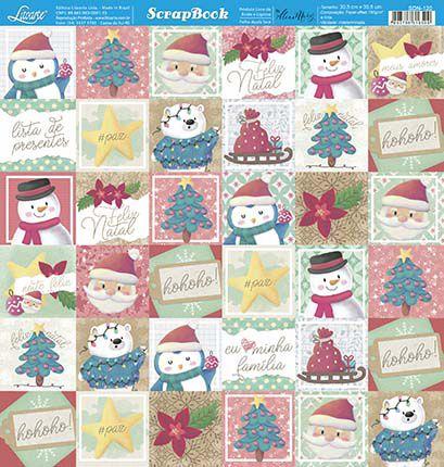 Papel Para Scrapbook Dupla Face 30,5 cm x 30,5 cm - SDN-120 - Scrap Duplo Natal - Tags, Feliz Natal, Noel, Arvore....