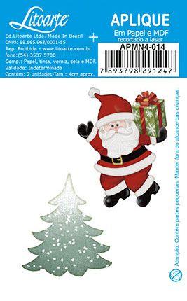 APMN4-014 - Aplique Em Papel E Mdf - Papai Noel & Pinheiro