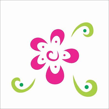 Stencil 10×10 Simples – Flor Estilizada III – OPA363