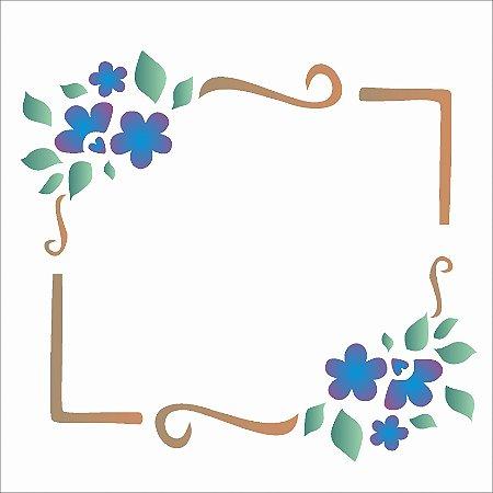 Stencil 14×14 Simples – Moldura Flor – OPA 995