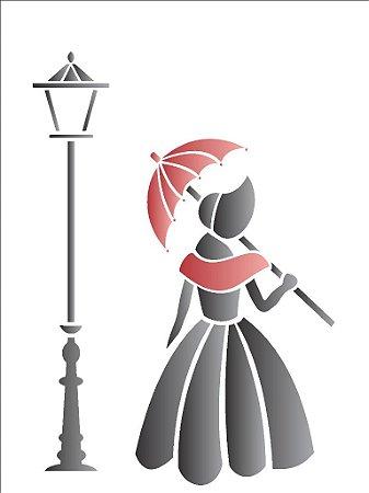 Stencil 15×20 Simples – Dama Antiga – OPA 1144