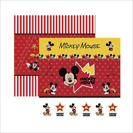 Folha para Scrapbook Dupla Face Disney Toke e Crie Mickey Mouse 1 Cenário e Bandeirolas - 19306 - SDFD012