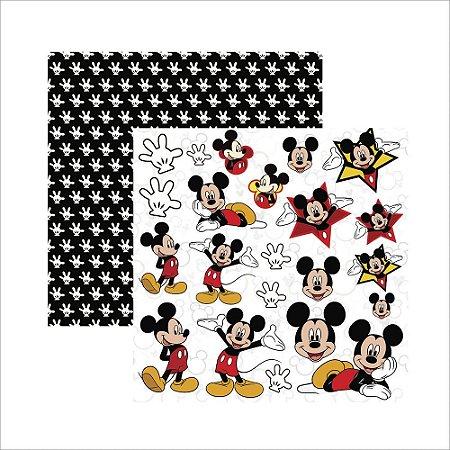Folha para Scrapbook Dupla Face Disney Toke e Crie Mickey Mouse 2 Recortes - 19313 - SDFD019