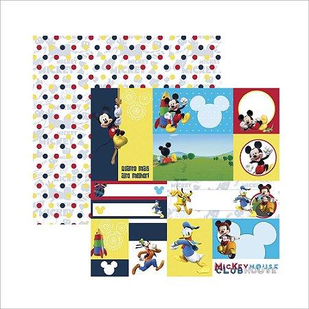 Folha para Scrapbook Dupla Face Disney Toke e Crie Casa do Mickey 2 Tags - 19690 - SDFD106