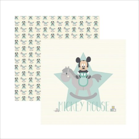 Folha para Scrapbook Dupla Face Disney Toke e Crie Baby Mickey 1 Guirlanda - 19325 - SDFD031