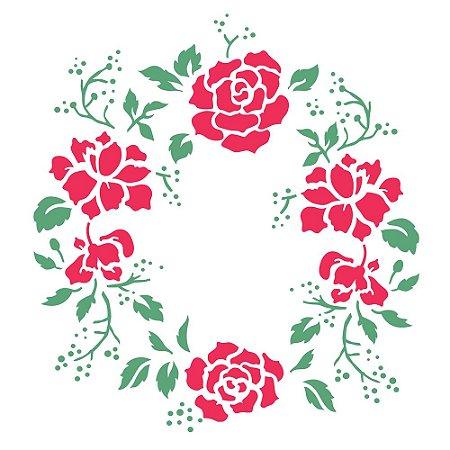 Stencil 30,5×30,5 Simples – Mandala Rosas – OPA 2301
