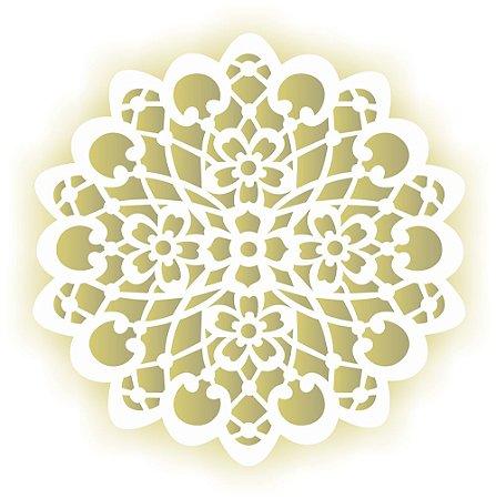 Stencil 30,5×30,5 Simples – Mandala Flor – OPA 2097