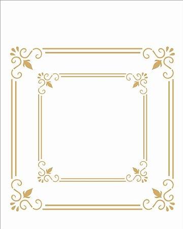Stencil 20×25 Simples – Moldura Quadrada Dupla – OPA 2465
