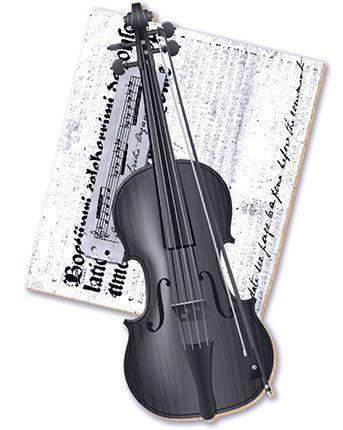APM8-166 - Aplique Em Papel E MDF - Violino