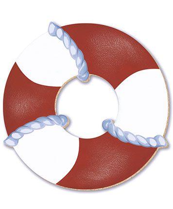 APM8-211 - Aplique Em Papel E MDF -Bóia Vermelha E Branca