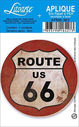APM8-363 - Aplique Em Papel E MDF - Route 66 Redondo