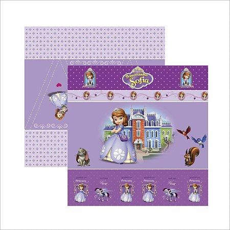Folha para Scrapbook Dupla Face Disney Toke e Crie Princesinha Sofia 1 Cenário e Bandeirolas - 19342 - SDFD048